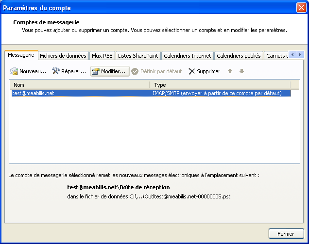 Modification d'un compte Outlook 2007